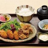 鶏唐揚げ&カキフライ膳