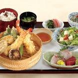 日替わり旬魚造り付き 季節の天ぷら御膳