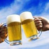 屋外で飲みビールは格別です!