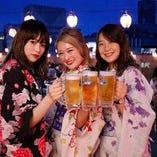 野外で飲む生ビールは格別です!!