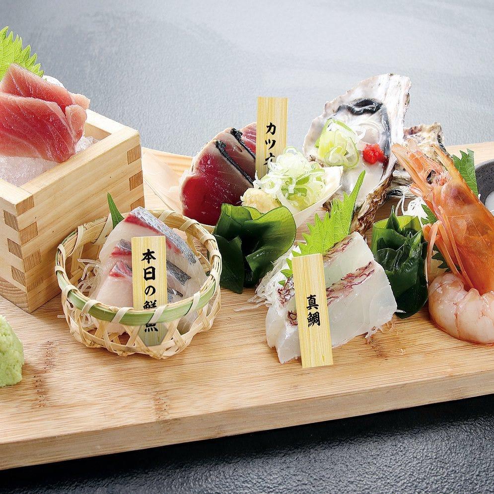 毎日築地から仕入れる新鮮な魚介類