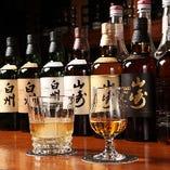 人気のジャパニーズシングルモルトウィスキー♪「山崎」「白州」をそれぞれノンビンテージ、12年、18年と揃えております。飲み比べも面白いかも?