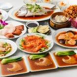 ぐるなび限定飲み放題6000円フカヒレ姿、季節の蒸し魚入ったコース