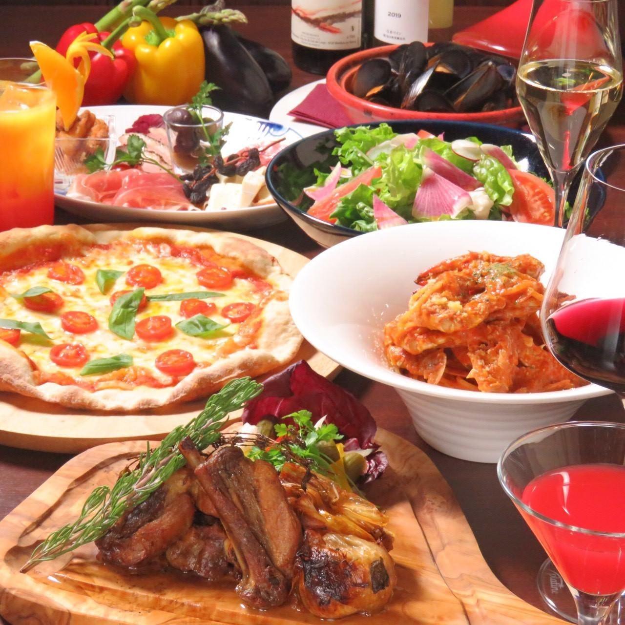 【100分飲み放題付】記念日・誕生日に人気!自慢のピッツァやお肉料理『白夜プラン』[全6品]