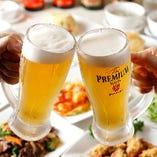 当店の生ビールは泡が美味しい、神泡のザ・プレミアム・モルツ