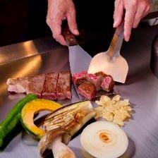 贅沢な食材を、目の前の鉄板で