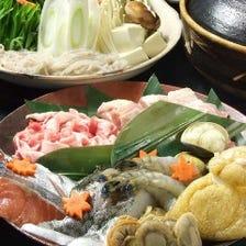 <名物!鍋付き♪新年会に☆40種の日本酒含む90分飲み放題付き>全7品 魚里ゐ夷の4600円コース!