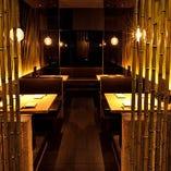 お仲間との宴会に。竹で囲まれた幻想的な雰囲気のBOX席16名様迄