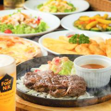¥4,000コース  お料理全5品+2H飲放付き★2種類の樽生ビール,当店名物の肉盛り鉄板プレート付きコース!