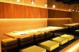 ↑の個室は最大12名様まで 和の空間デザイニング個室