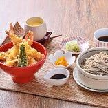 海老天丼と十勝新得そばお盆