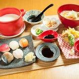 出来たて十勝豆富と手まり寿司お盆
