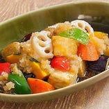 十勝大豆の豆富と野菜の煮おろし