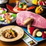 鮮やかな旬の和食の会席料理と鉄板焼の融合をコースで贅沢に堪能
