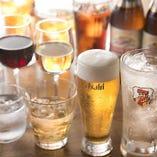 生ビールや赤・白ワイン、焼酎、ハイボールが楽しめる飲み放題メニュー