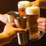 【飲み放題】 宴会コースはすべて飲み放題!生ビールで乾杯