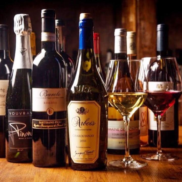 20種類以上のワインを取り揃え