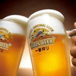 生ビールで乾杯♪飲み放題内容♪