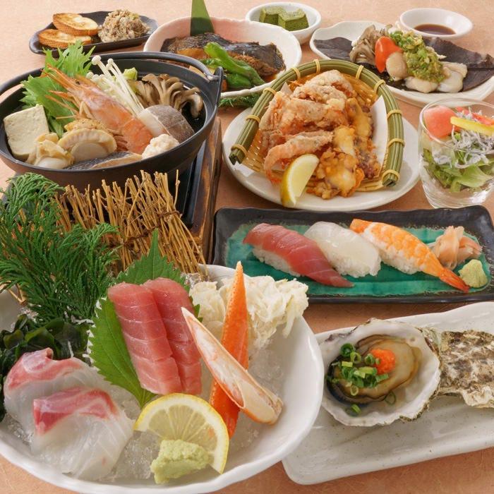 【華の宴コース】全9品 産地にこだわった海鮮料理をお楽しみいただけるコースです