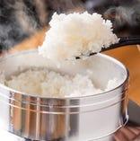 魚沼産コシヒカリ、魚沼の天然水で注文をいただいてから炊き上げる、わさび飯!