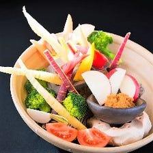 魚沼味噌で食べる熊谷お野菜の生野菜