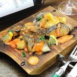 Spanish mackerel frit Setouchi lemon Source さわらのフリット瀬戸内レモンのソース