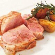 新潟県産 雪室熟成豚の炭火焼き バルサミコソース