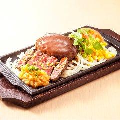 【数量限定】黒毛和牛ハンバーグと和風牛ステーキの鉄板プレート