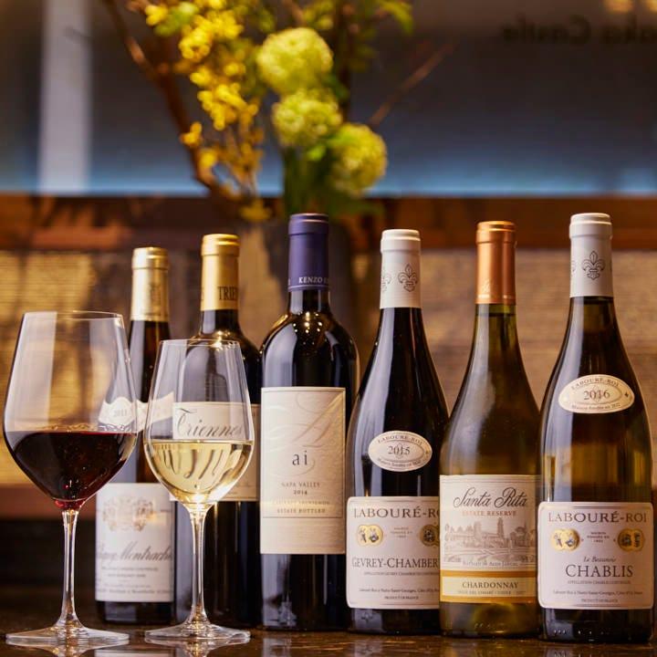 豊富なワインを取り揃え