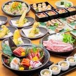 飲み放題付き5300円(税込)幸コースは、豪華食材をふんだんに