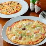 素材の持ち味を活かしたピッツァはサイズも選べます