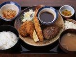 【トリオ】 ハンバーグとヒレカツとえびフライ定食 1040円