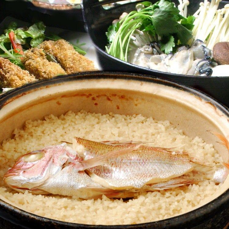 名物土鍋炊き鯛めしを味わえるコースなど ご用意しております