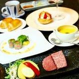 【ステーキランチ】食べ比べができます♪鹿児島県産黒毛和牛ヒレ+サーロイン(50g+50g)がメイン
