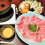 しゃぶしゃぶの〆は、きし麺又はおじやからお選びいただけます。お肉と野菜の旨味を最後までお楽しみください。