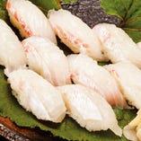 釣った鯛で 握り寿司