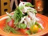 真鯛とタコとサーモンのカルパッチョ