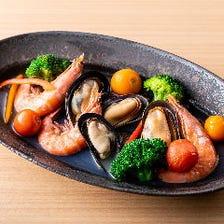 海老と活ムール貝のアクアパッツァ
