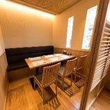洗練された和空間でゆったり過ごせるテーブル席完全個室(~6名様)