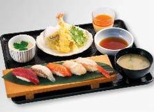 車海老天婦羅と握り寿司ランチセット