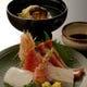秋のはな甚懐石6600円のコースより  刺身と鱧と松茸の椀