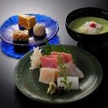 """夏は何と言っても""""鱧と枝豆すり流し""""…目にも鮮やか!食べて美味しい!(6600円コースより)"""