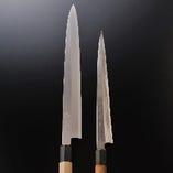 親方愛用の柳刃(刺身用):驚くなかれ。25年で右のサイズに!