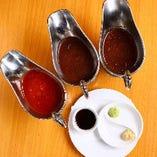 (2)ソースは6種類!お好きなソースをお選びください♪