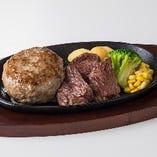 【牛100%】宮ハンバーグ&ひとくちてっぱんステーキ