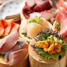 目利きした新鮮な季節の魚介のお刺身