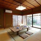 接待にも最適な中庭を眺められる上質な和空間