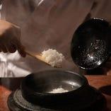 〆の銀シャリ(ご飯)のこだわり 奈良県産ひのひかりと炊き上げるおくどさん