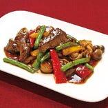 牛肉の黒酢ブラックペッパー炒め