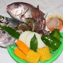 旬な鮮魚をたっぷり使用した浜焼きも